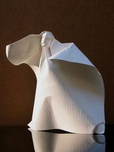 Figure-2003, Giang Dinh, contemporary paper folding, origami, figurative art, http://giangdinh.com/giang/fold_faces.html