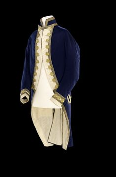 Full dress frock coat of a Captain. The frock is of blue wool with button back lapels faced with white and edged with gold lace. 18th Century Clothing, 18th Century Fashion, Frock Coat, Coat Dress, Historical Costume, Historical Clothing, Royal Navy Uniform, Moda Fashion, Fashion Trends