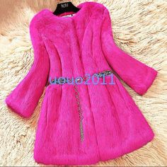 Womens Sweet Faux Rabbit Fur Mid Long 3/4 Sleeve Winter Parka Coats Jacket Size