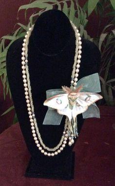 La Luna......leather moth, Swarovski crystal pearls