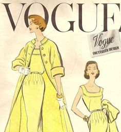 Vintage 1957 VOGUE.  Unfortunately non-pattern piece layout graphics.  But looks fairly easy to draft.