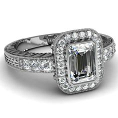1.35 Ct Emerald Cut Halo Diamond Engagement Ring Vintage Style 14K FLAWLESS GIA: Fascinating Diamonds: Jewelry
