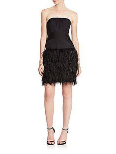 MILLY Silk Organza Feather Dress - Black - Size 14