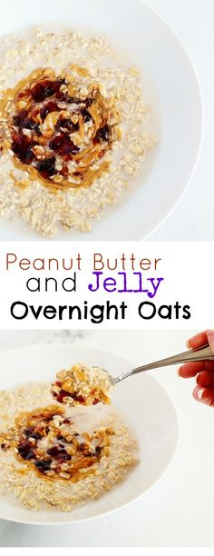 This Peanut Butter and Jelly Overnight Oats recipe is super EASY and healthy. It is by far one of my FAVORITE breakfasts or afternoon snacks; it takes literally 3 minutes to prepare and has only 5 ingredients! Vegan and Gluten Free. / TwoRaspberries.com