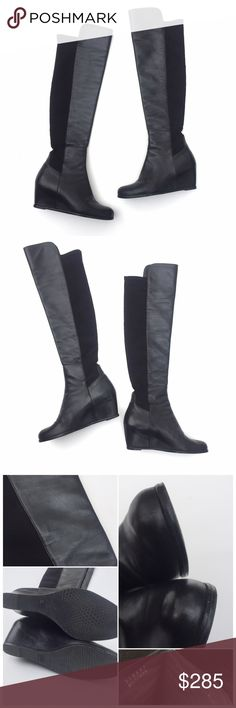 "Stuart Weitzman Black Leather 50/50 OTK Boot Semi over the knee boot with a hidden wedge (around 3"" high). These are classic and trendy! Soft Napa leather with elastic back, making them very comfortable. Full height is 23"" from highest point to floor, while the opening measures 7"" at the top but stretches to accommodate a 15"" calf. There is some light scuffing and a professionally repaired seam on the inside of the right foot, which is not noticeable while wearing. Please look at the…"
