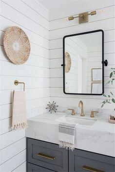 Light & Airy Bathroom with Shiplap, Patterned Tile & Mixed Metals – Diy Badezimmer Cozy Bathroom, Bathroom Renos, White Bathroom, Bathroom Renovations, Small Bathroom, Bathroom Ideas, Bathroom Cabinets, Bathroom Vanities, Remodel Bathroom