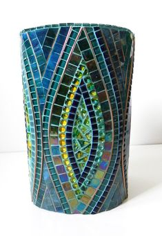 Mosaic Art - Large Stained Glass Mosaic Vase on Ceramic in Blue, Turquoise and Yellow,Accented with Copper - #