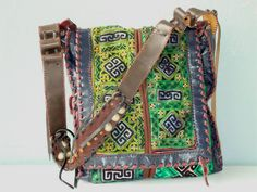 Prachtige Handgemaakte leren tas met authentiek Stof