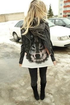 wolf tee and leather jacket and scarf