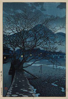 yama-bato: Kawase Hasui (1883-1957) Oban, yoko-e. Title: Tabi miyage dai sanshu. Title: Beppu no yu. Evening in Beppu in the cold season. Signed: Hasui. Seal: Kawase. Publisher: Watanabe Shosaburo. Date: Showa 4 (1929)