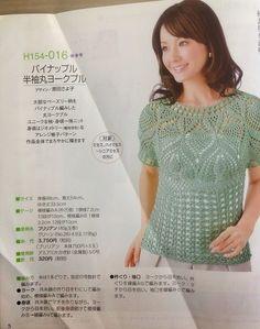 Irish crochet &: BLOUSE: Pineapple & openwork Short-sleeved tunic. Japanese, but full schemes inc..