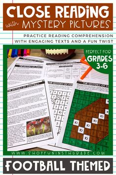 Football themed close reading passages with mystery pictures is a great way to practice reading comprehension.  This football themed pack includes 3 high interest passages that are differentiated.  Includes a fiction and nonfiction reading passages about the history of football.  Perfect for teaching reading in 3rd grade, 4th grade, 5th grade and 6th grade. #closereading