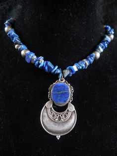 Lapis & Sterling Silver Vintage Necklace by SucculentMoon on Etsy