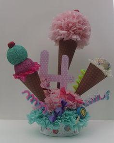 Helado cono centro de mesa - centro de mesa cumpleaños - chicas de fiesta - helado cono cumpleaños centro de mesa - decoración fiesta