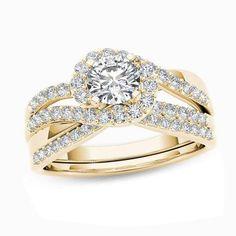 #Valentines #AdoreWe #Zales - #Zales 1 CT. T.w. Diamond Swirl Bypass Bridal Set in 14K Gold - AdoreWe.com