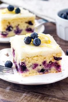 This lemon blueberry cake recipe is perfectly moist, has a bright lemon flavor, and tons of fresh berries.
