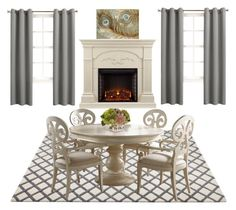"""Neutral Dining Room"" by leopardandbling on Polyvore featuring interior, interiors, interior design, home, home decor, interior decorating, Fine Furniture Design, Sun Zero, John-Richard and Southern Enterprises"