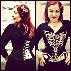 "Pop Antique skeleton print ""t-shirt corset."" Anatomically scaled illustration based on Victorian anti-corset propaganda. Biker Shirts, Lace Tights, Holiday Wear, Out Of Touch, Alternative Fashion, Refashion, Fashion Watches, Fashion Beauty, Cool Outfits"