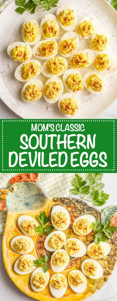 My mom's classic Southern deviled eggs have been part of family gatherings, holidays and special occasions all my life. This recipe is simple to make, deliciously creamy and the traditional Southern style I grew up with. (And I've got some fun topping ideas you can try!) #deviledeggs #southernfood #easterrecipes | www.familyfoodonthetable.com