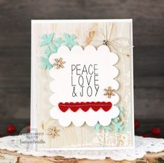Card by Laurie Schmidlin. Caring Hearts Card Drive Blog Hop. Reverse Confetti stamp set: Confetti Cuts: Christmas card. Peace, Love, & Joy.