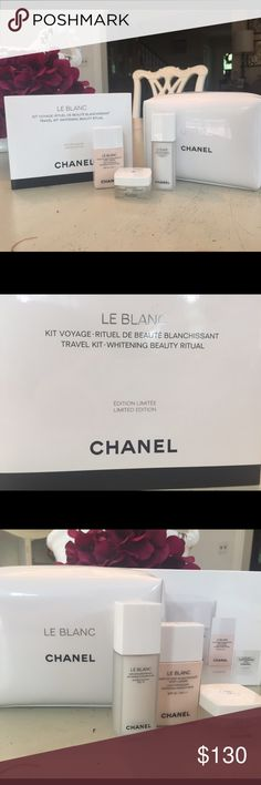 BRAND NEW CHANEL LE BLANC LIMITED EDITION WHITENING BEAUTY RITUAL TRAVEL KIT. Sold for HALF price. Contains: 30 ml LIGHT REVEALING WHITENING MAKEUP BASE, 15 ml DOUBLE ACTION TXC, 10 g WHITENING MOISTURIZING CREAM, travel pouch. (Small tear on the BOX, but pouch and products are good as new!) CHANEL Makeup