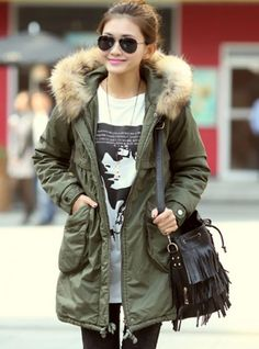 Hooded Zipper Army Green Coat