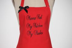 Personalized Aprons - Embroider Apron - Hostess Gift Idea - Holiday's Gift -Red Apron with Black Embroider . by Wheelering on Etsy