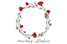 Digital wreath clipart carnation PNG by michLg studios on @creativemarket