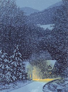 "Eight-color linocut print of Vermont village on a snowy night, entitled ""Nightfall Snowfall"" ~ William Hays"