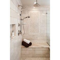 Emser Tile Crema Marfil 1 x 12 Marble Bullnose Tile Trim in Crema Marfil Classic Stone Mosaic Tile, Mosaic Wall, Mosaic Glass, Wall Tiles, Marble Mosaic, Travertine Tile, Carrara, Shower Floor, Tile Floor