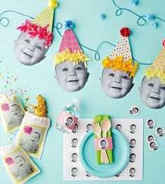 Use your favorite pictures of your baby to create these too-cute party decorations for their first #birthday! by ImpressiveInvitations