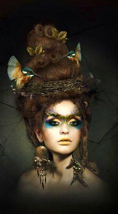 Vogelnest Kostüm selber machen Make bird's nest costume yourself Mother Nature Costume, Fantasy Make Up, Theatrical Makeup, Maquillage Halloween, Hair Shows, Creative Hairstyles, Crazy Hair, Big Hair, Costume Makeup
