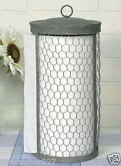 Country Vintage Countertop Chicken Wire Paper Towel Holder Dispenser Home Decor