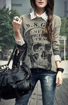 Glam Rock: sweater with skull print, distressed jeans, studded button down