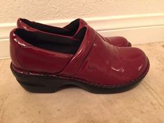 BOC Born Concepts Womens Clogs Loafers Size 7.5 Mules Red Patent Leather Shoes