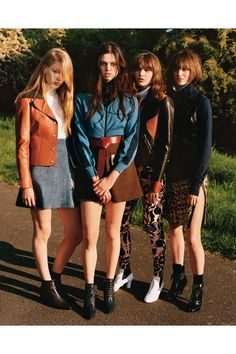Hollie-May Saker, Lily McMenamy, Misha Hart and Sam Rollinson - Alasdair McLellan - September 2014 issue