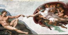 """""""Сотворение Адама"""", Микеланджело Буонарроти, 1511. Микеланджело работал над росписями Сикстинской капеллы в первом десятилетии XVI века. Самая известная из фресок потолка капеллы - """"Сотворение Адама"""" : даже тот, кто никогда специально не интересовался искусством, наверняка видел фрагмент с готовыми вот-вот соприкоснуться кистями рук, являющийся её композиционным центром. Что Микеланджело хочет этим сказать? Он изображает парящего в бесконечном пространстве Бога-отца, который только что…"""