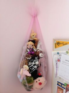 Stuffed animal holder Stuffed animal holder Stuffed an. Stuffed animal holder Stuffed animal holder Stuffed an… Stuffed animal Stuffed Animal Holder, Stuffed Animal Storage, Stuffed Animal Net, Toddler Closet Organization, Toy Organization, Closet Ideas, Bedroom Organization, Organizing Books, Organizer Bins