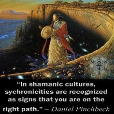 """""""In shamanic cultures, synchronicities are recognized as signs that you are on the right path."""" ~ Daniel Pinchbeck"""