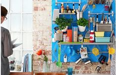 Cuisine Ikea : 'A wall of hanging rail storage makes the most of limited space in the kitchen,' says stylist Sam Grigg. 'With a few updates, you can turn Hanging Rail, Hanging Storage, Small Storage, Storage Ideas, Storage Hacks, Kitchen Wall Storage, Secret Organizations, Ikea Decor, Kitchen On A Budget