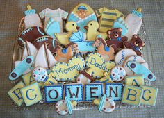 Super Baby Shower Ideas For Girs Cake Sugar Cookies Ideas Baby Cookies, Baby Shower Cookies, Cut Out Cookies, Cute Cookies, Sugar Cookies, Sweet Cookies, Iced Cookies, Baby Shower Parties, Baby Boy Shower