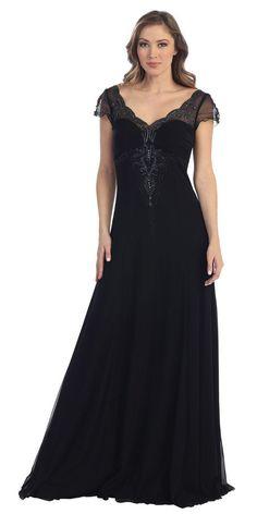 CLEARANCE - Short Sleeve Black Formal Dress A Line V Neckline Flowy Stretchy