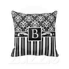 Elegant Black and White Art Deco Damask Decorative Pillow.   This original design by Divine Damask won a Zazzle Today's Best Award on April 24, 2012.