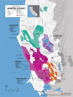 USA California North Coast (Napa, Sonoma, etc) wine map by Wine Folly Napa Valley Wineries, Temecula Wineries, Virginia Wineries, Boot Camp, Wine Folly, Wine Poster, Chateauneuf Du Pape, Barolo Wine, Wine Education
