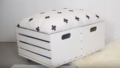 s the newest diy space saving storage ideas to keep your home organized, Crate Storage Ottoman