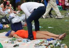 This race goer is clearly a little worse for ware after a hard day celebrating the CUP, op...