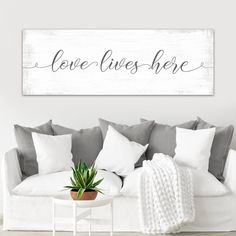 Love Lives Here canvas wall art, makes pretty perfect home decor for sharing the love :) Love Canvas, Canvas Wall Art, Bedroom Canvas, Police Gifts, Name Wall Art, Finding The One, Thing 1, Color Calibration, Love Signs