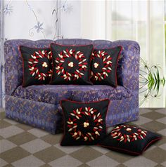 Dekor World Floral Embroidery #Cushion Cover (Pack of 5 Pcs).  #homedecor