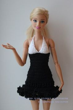 Crotchet dress for Barbie Crochet Short Dresses, Crotchet Dress, Crochet Doll Dress, Crochet Barbie Clothes, Crochet Barbie Patterns, Barbie Clothes Patterns, Moda Barbie, Accessoires Barbie, Boho Summer Dresses