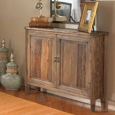 Add a casual touch to your home with this rustic Altair Reclaimed Wood Console Cabinet. This distinctive piece features weathered, reclaimed fir wood, sun faded Rustic Storage Cabinets, Wood Cabinets, Cupboards, Accent Chests And Cabinets, Console Cabinet, Console Tables, Console Storage, Storage Units, Sofa Tables